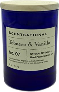 Scentsational Tobacco Vanilla Scented Natural Soy Candle in a Blue Jar Hand Poured in the USA