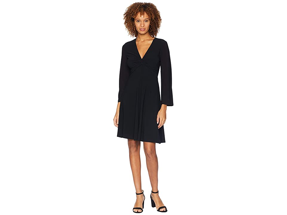London Times Bell Sleeve Twist Front Dress (Black) Women