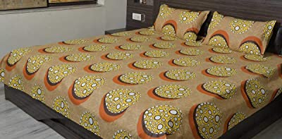SB MAPS Cotton Double Bed Brown Printed Bedsheet with 2 Pillow Covers