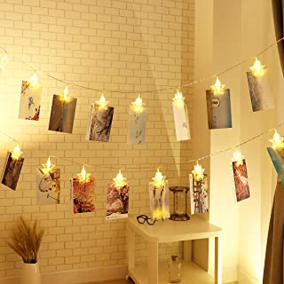 Photo String Lights, YUNLIGHTS 30 LED Photo Clips Lights Indoor Fairy String Lights for Hanging Photos Pictures Cards and Memos, Ideal Gift for Dorms Bedroom Decoration (18ft, Warm White)