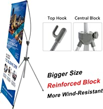 T-SIGN Reinforced Block Adjustable Tripod X Banner Stand, 23 x 63 to 31 x 71 Inch, Portable Travel Bag, Bigger, More Adaptable, Trade Show Exhibition