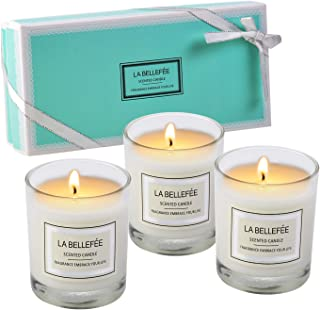 Vela perfumada de La Bellefee, paquete de regalo, vela votiva, tarro de cera de soja, perfecto para aniversario, cumpleaños, yoga, Navidad, madre, día de San Valentín, 3 paquetes