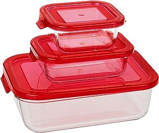 Taliona Boro Rectangular Food Container Set - Red