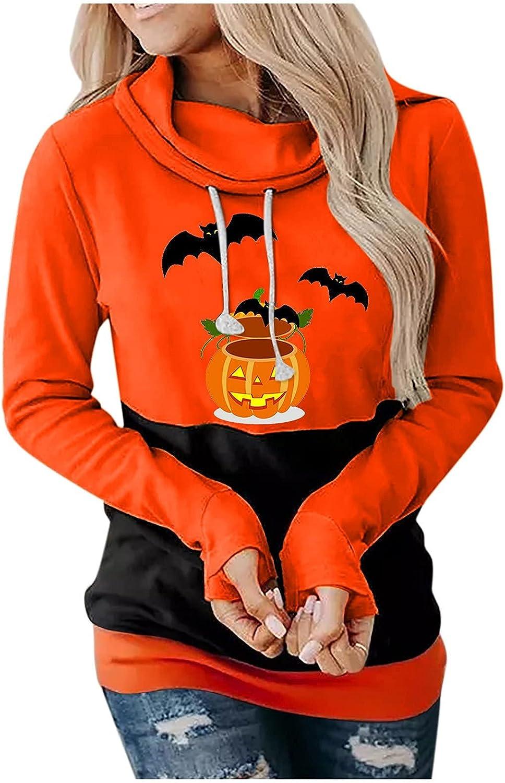 Halloween Hoodies for Women Fall Fashion Long Sleeve Shirts Winter Casual Hooded Turtleneck Blouse Tops Sweatshirts