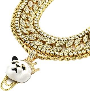 5 pcs Bundle Set 14k Gold Plated Hip Hop Fully Cz Chain Panda Pendant