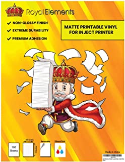 Royal Elements Printable Vinyl for Inkjet Printers - 100 Waterproof Sheets - Dishwasher Safe (Matte Printable Vinyl -100 S...