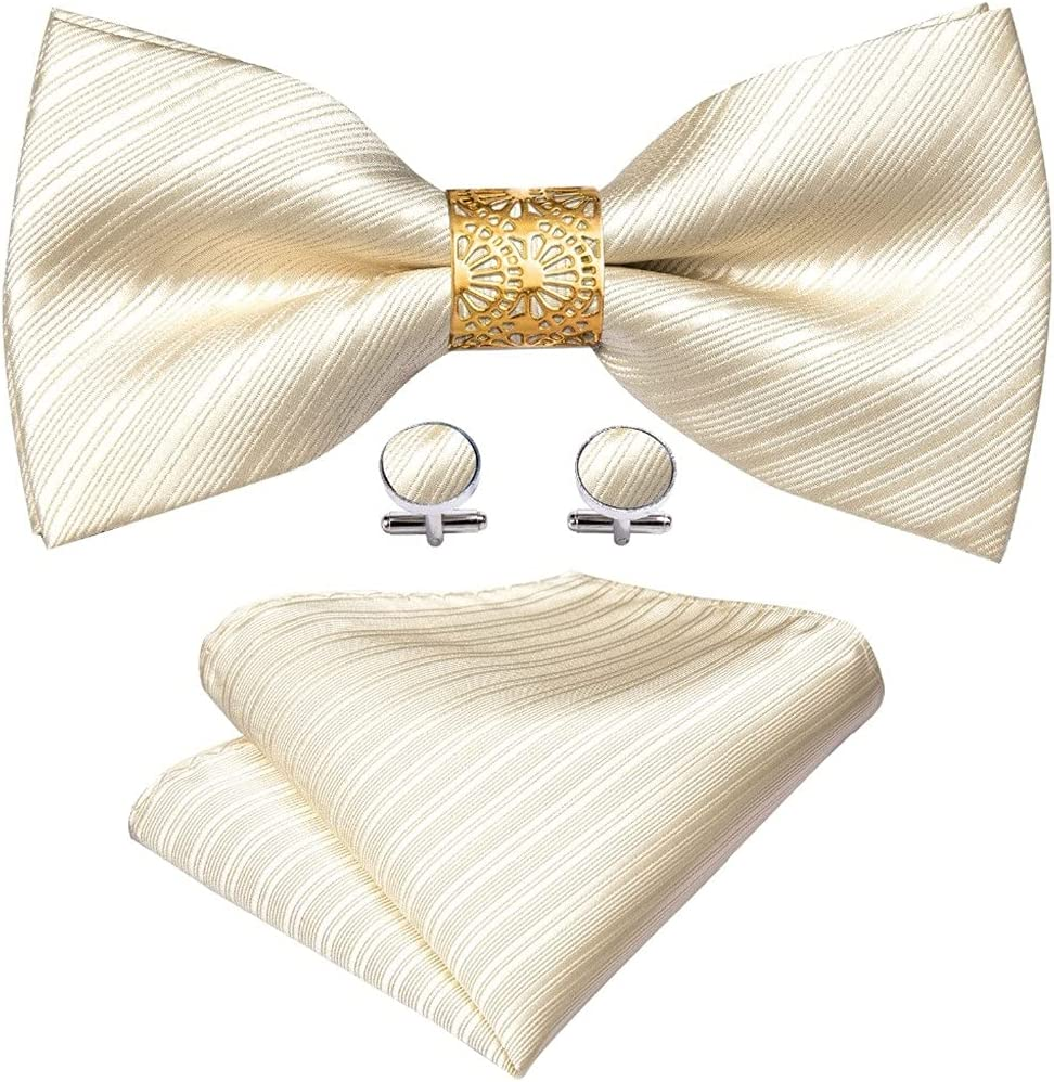 UXZDX CUJUX Cream Solid Silk Pre-Bow Tie for Men Wedding Accessorie Adjustable Butterfly Handky Removable Gold Ring Set (Color : Cream Solid, Size : One Size)