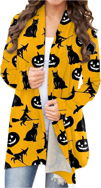 felwors Womens Cardigan, Womens Halloween Long Sleeve Open Front Funny Cute Pumpkin Cat Ghost Tops Lightweight Coat