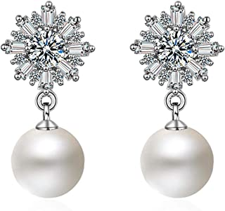 Yellow Chimes High End Pearl Collection A5 Grade Crystal Fresh Water Pearl Silver Plated Earrings for Women and Girls