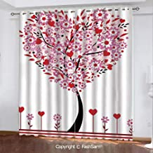 Blackout Curtains Set Room Darkening Drapes Heart Shaped Tree Daisies Wildflowers Red Leaves Forest Romance Season Image Decorative Window Curtains for Living Room(55