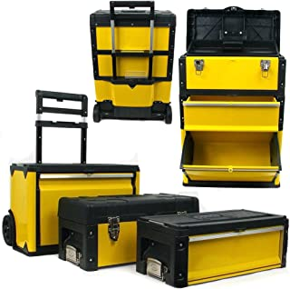 3-in-1 Rolling Tool Box with Wheels, Foldable Comfort Handle, and Removable Sections – Toolbox Organizers and Storage by S...