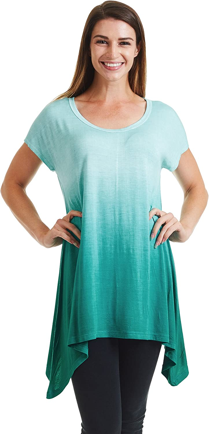 Come Together California CTC Womens Round Neck Short Sleeve Asymmetrical Hen Ombre Tunic Tee