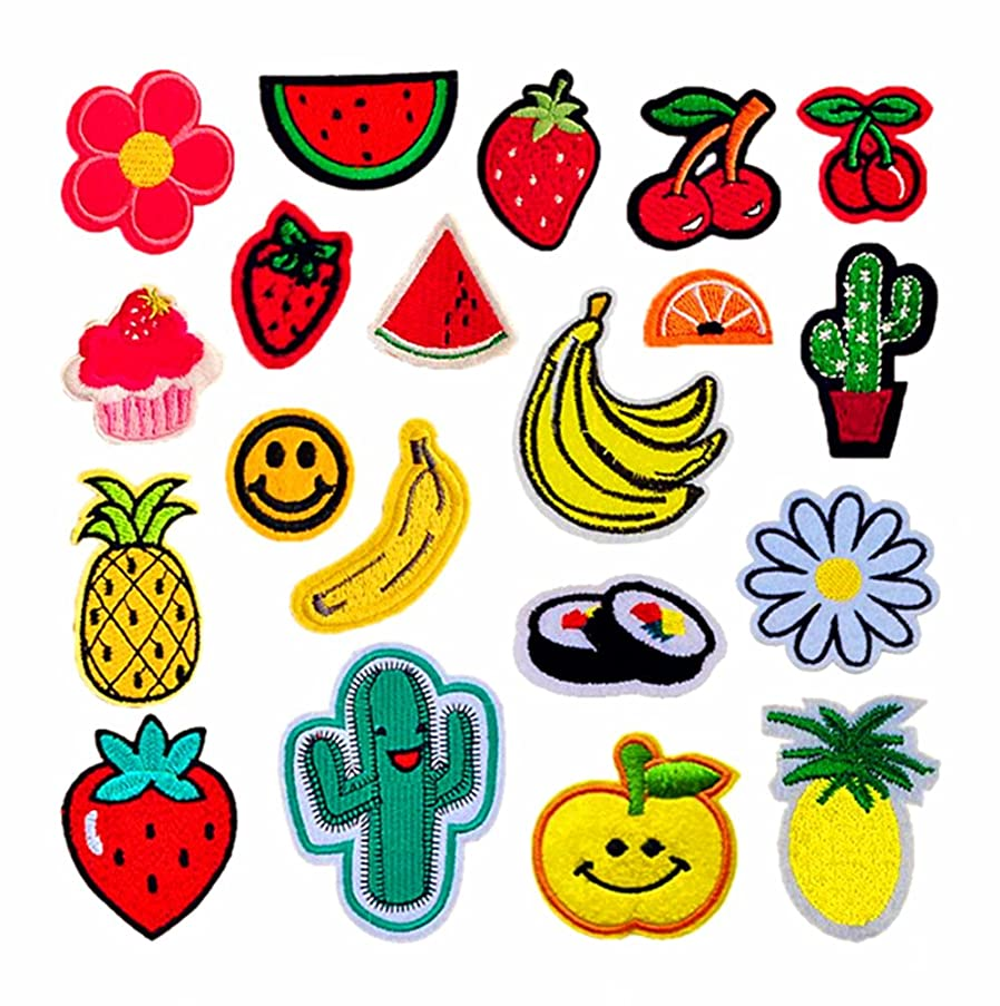 20pcs Embroidered Cloth Patches Iron-on or Sew-on Decorative Repairing Motif Badges Applique Dress Accessories(Fruits,Assorted Colors&Sizes)