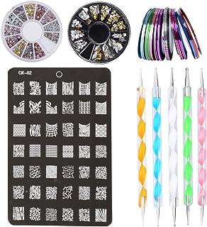 Kit de Accesorios Decoración Uñas Nail Art - 30 x Rollos de Cintas Adhesivas Uñas, 1 x Placa Plantilla, 2 x Cajas de Pegatinas, 5 x Pinceles para Dibujos de las Uñas