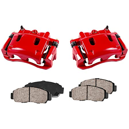 2 Low Dust Ceramic Brake Pads FRONT Performance Loaded Powder Coated Red Remanufactured Caliper Assembly CCK12115
