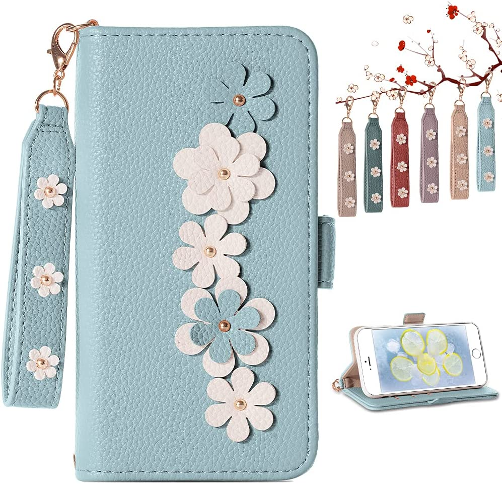 Homelax iPhone 8 Plus Wallet Case for Women, iPhone 7 Plus Flip Case with Card Holder Hand Strap, Flowers Leather Phone Case Inlay Shockproof TPU for iPhone 6S Plus/7 Plus/8 Plus 5.5 in, Blue