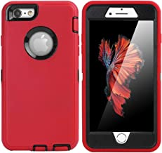 iPhone 6 Plus Case,iPhone 6S Plus Case [Heavy Duty] AICase Built-in Screen Protector Tough 4 in 1 Rugged Shockproof Cover for Apple iPhone 6 Plus / 6S Plus (Black/Red)