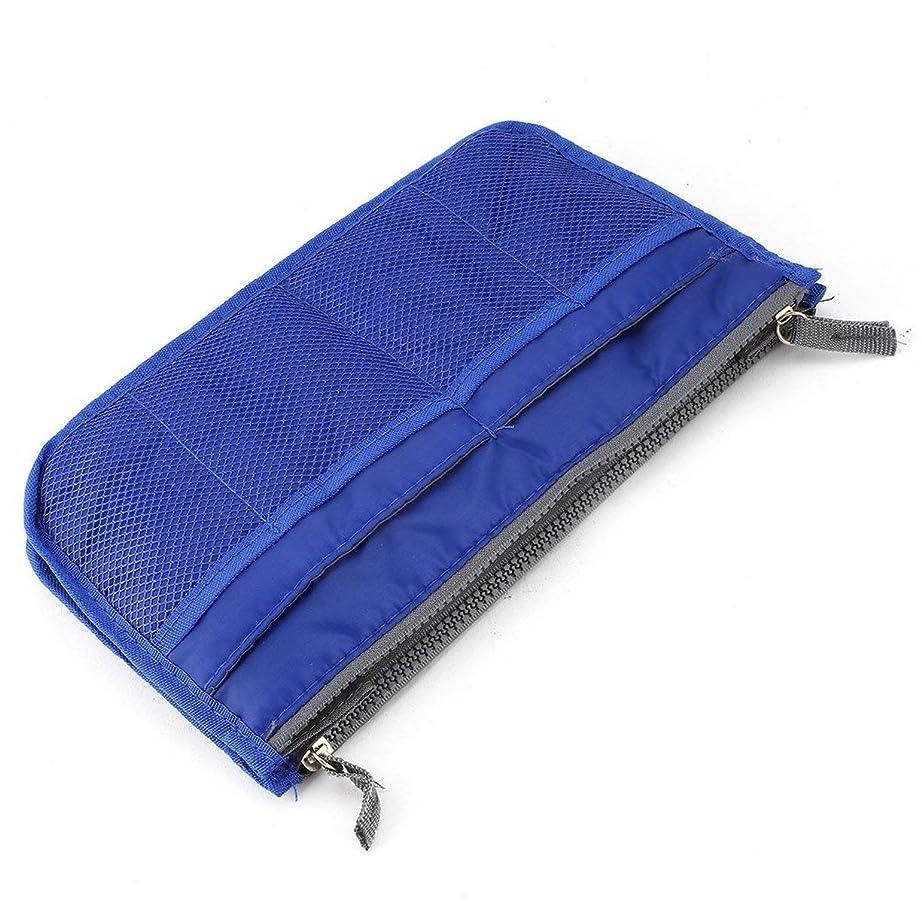 ビクター驚肥料多機能ダブルジッパーポリエステルメイクアップバッグポータブル旅行美容化粧品バッグハンドル付きトイレタリーバッグを構成-ロイヤルブルー
