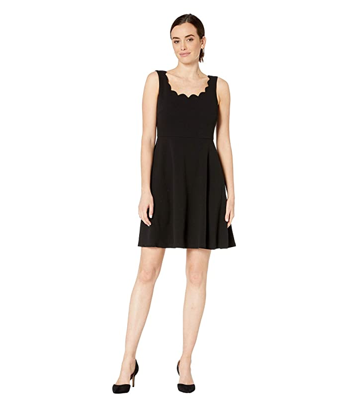 Nine West Drapey Crepe Sleeveless Fit & Flare Dress w/ Scallop Neckline