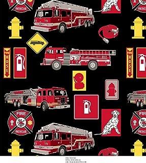 Fire Trucks Fleece Fabric 479