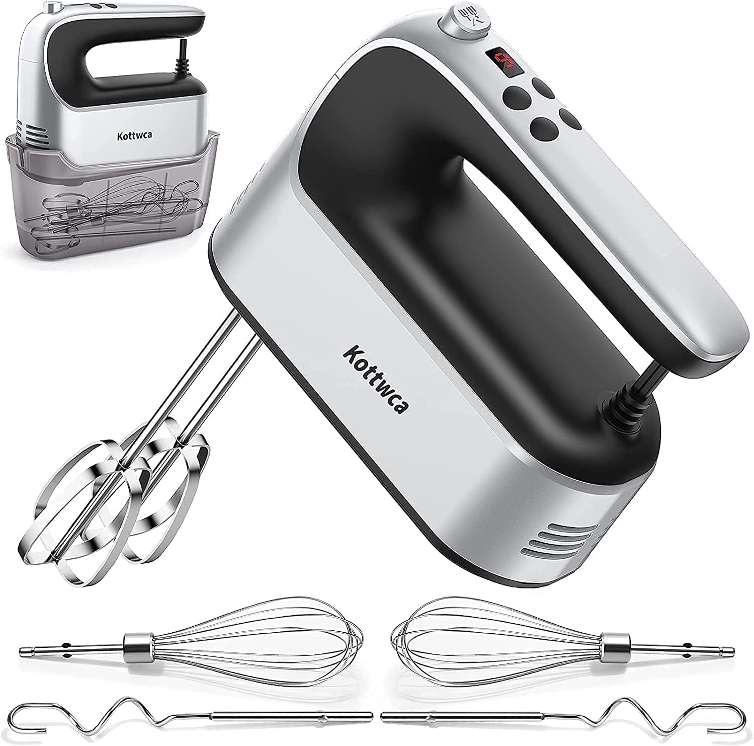 Hand Mixer Electric with Storage Case, 450W 9-Speed Kitchen Handheld Mixer with Digital Screen, 6 Stainless Steel Attachments+ Eject Button, for Whipping Dough Cream Cake Egg Salad Biscuit