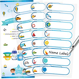 Baby Bottle Labels for Daycare, Self-Laminating, Waterproof Write-On Name Labels, Assorted Sizes & Colors, Pack of 64 Blue...