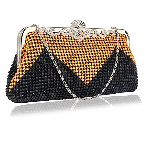 Womens Stylish Celebrity Style Beaded Crystal Contrast Party Clutch Evening  Bags (Black Gold Beaded 7417399f29ca