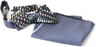 Cravatta a Farfalla Reversibile con Fazzoletto per Uomo in Viscosa, Seta e Cotone nei Colori Blu Navy, Verde, Bordeaux e A...