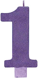 Numeral #1 Large Glitter Candle - Purple, Party Favor