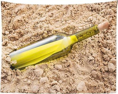 Timingila Beige Botella Mensaje de Playa Naturaleza Tapiz Colgante Decorado Indio Tapiz indio-54 x 44 Pulgadas: Amazon.es: Hogar