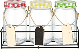 Harmony 2724623314358 Glass Jar With Metal Rack And Lid - 3 Pieces