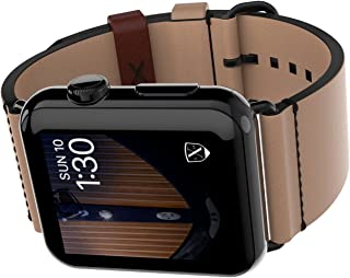 LUXEORA Element Leather Band Strap with Black PVD Stainless Steel Buckle - 44/42mm - Sepia Tan - Compatible with Apple Watch Series 4 3 2 1 Sport and Watch Edition
