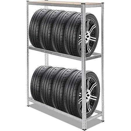 Wolketon Reifenregal Für 8 Reifen 180x120x40cm Höhenverstellbar Obere Ablage Mdf Stabiles Werkstattregal Mit Verzinktem Stahl Wand Baumarkt
