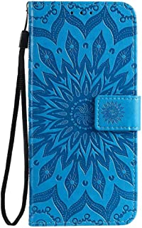 Hllycr A31 2020 Leather Flip Case Flip Kickstand Case with Card Slots Protective Cover for Oppo A31 2020 - Blue