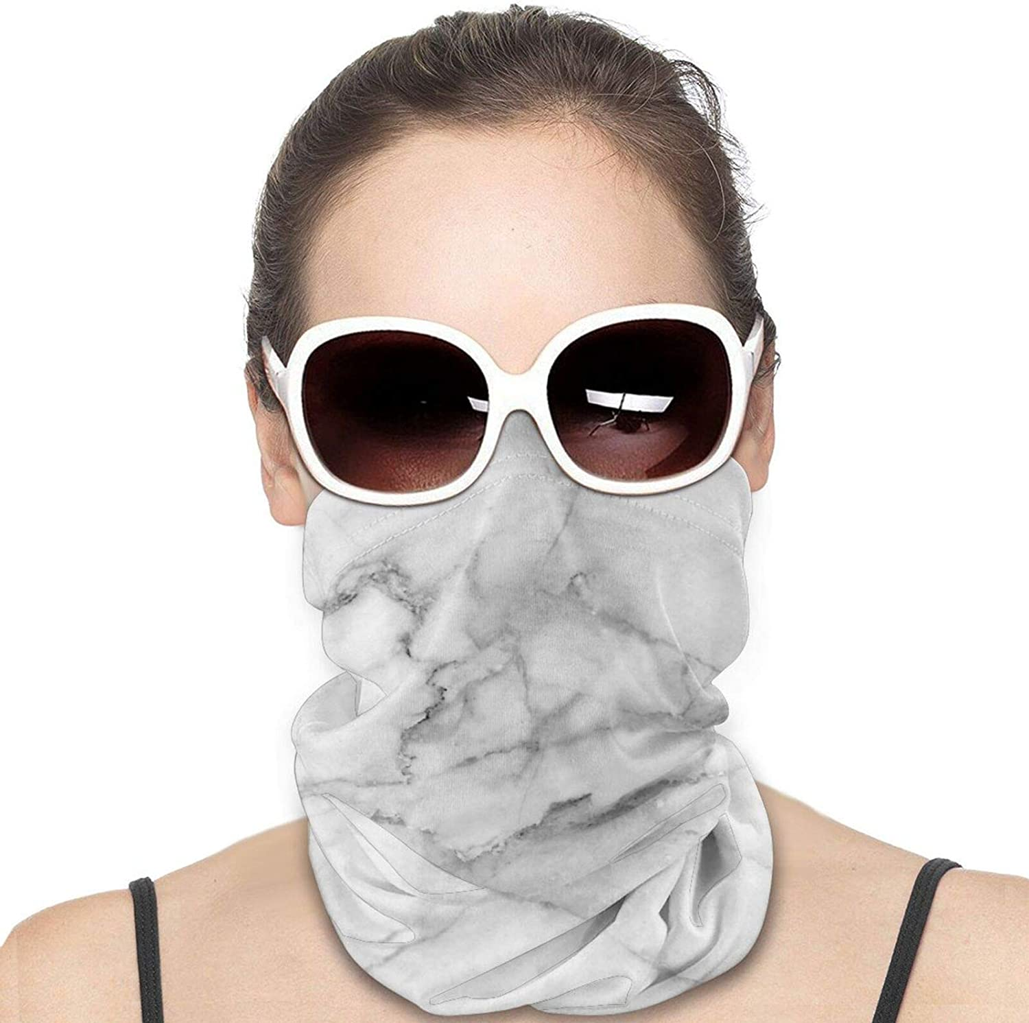 Natural White Marble Texture Neck Gaiter Windproof Face Cover Balaclava Outdoors Magic Scarf Headband for Men Women Motorcycling Fishing Running Climbing