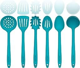 Aqua Sky Silicone Cooking Utensils Set – Sturdy Steel Inner Core – Spatula, Mixing & Slotted Spoon, Ladle, Pasta Server, Drainer – Heat Resistant Kitchen Tools - Bonus Recipe Ebook