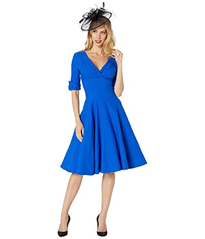 Unique Vintage 1950s Delores Swing Dress with Sleeves (Blue) Women