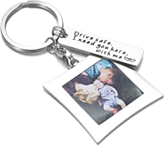 Drive Safe Keychain I Need You Here with Me and Elegant Mini Photo Frame, for Someone You Love, Trucker Husband Or for Boyfriend,dad Gift,Valentines Day Stocking Stuffer