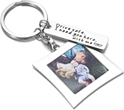 OFGOT7 Drive Safe Keychain I Need You Here with Me and Elegant Mini Photo Frame, for Someone You Love, Trucker Husband Or for Boyfriend,dad Gift,Valentines Day Stocking Stuffer