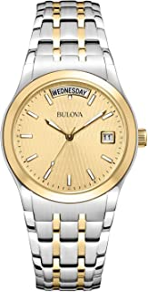 Bulova Mens 98C60XG Quartz Champagne Dial Two-Tone Bracelet 36mm Watch (Renewed)