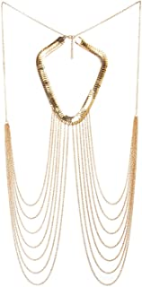 FemNmas Gold Tone Body Chain Adjustable Harness with Fine Chain Multirow Necklace