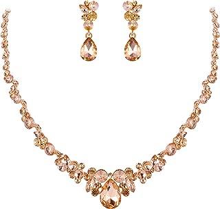 Rhinestone Crystal Elegant Bridal Floral Teardrop Necklace Earrings Set