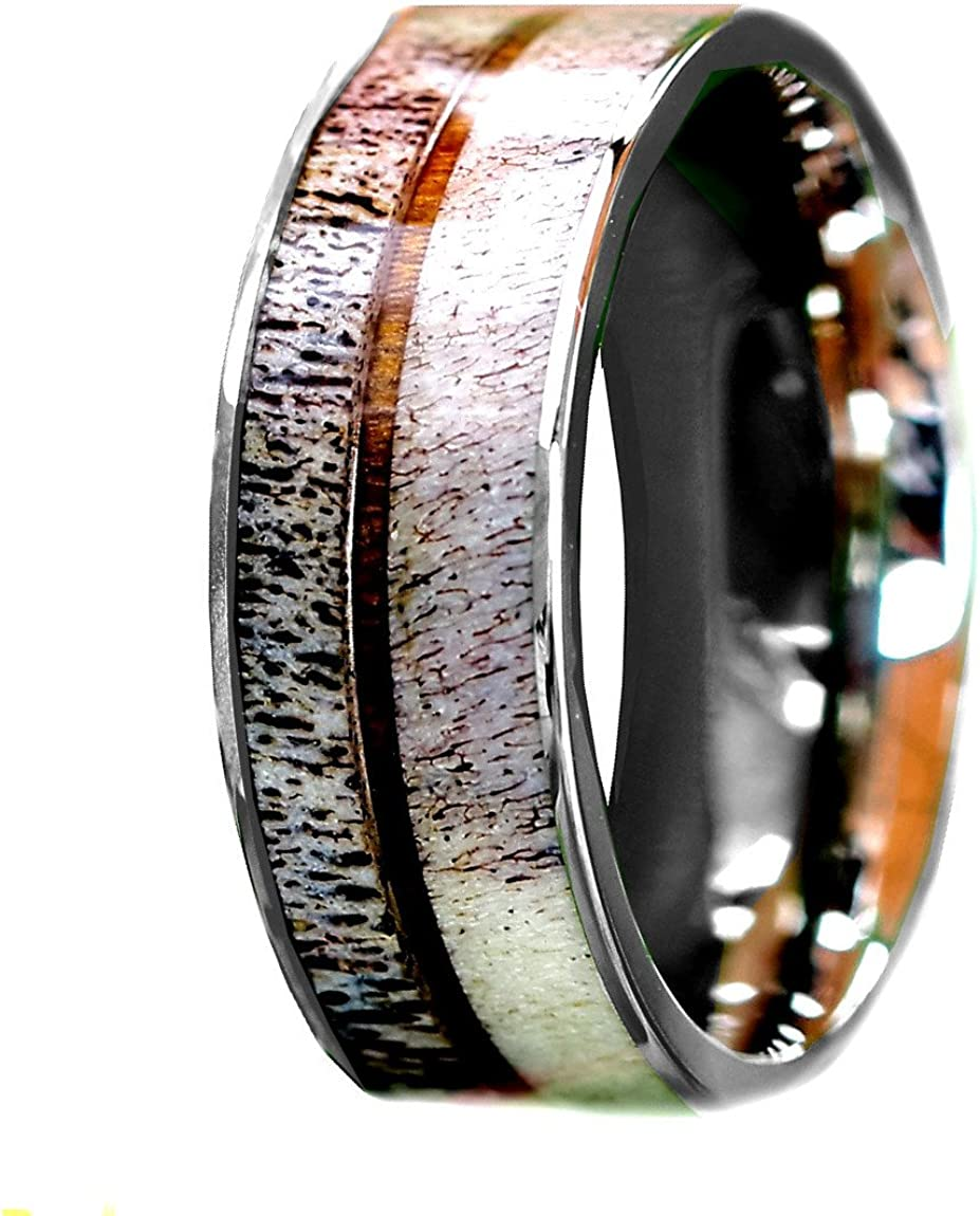 Kingsway Jewelry Natural Deer Antler Ring with Koa Wood Inlay - Unisex Mens Ring, Womens Ring Stainless Steel Hunter Wedding Ring Band