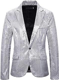 Men Blazer Slim Fit Business Wedding Host Men Jacket Sparkle Sequins Prom Party Costumes Fashion Casual Boutique Men Top M...