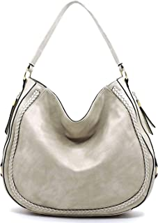 Janin Handbag Whipstitch Accent Hobo Style Round Bottom Side Compartment