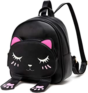 Black Kids Toddler Backpack For Girls Cat Cartoon School Bag Cat Backpack by Ozmeow - Small and Stylish - Will Fit Ipad, Small Books and Wallet - Perfect for School, Travelling, and a Holiday Weekend Bag.