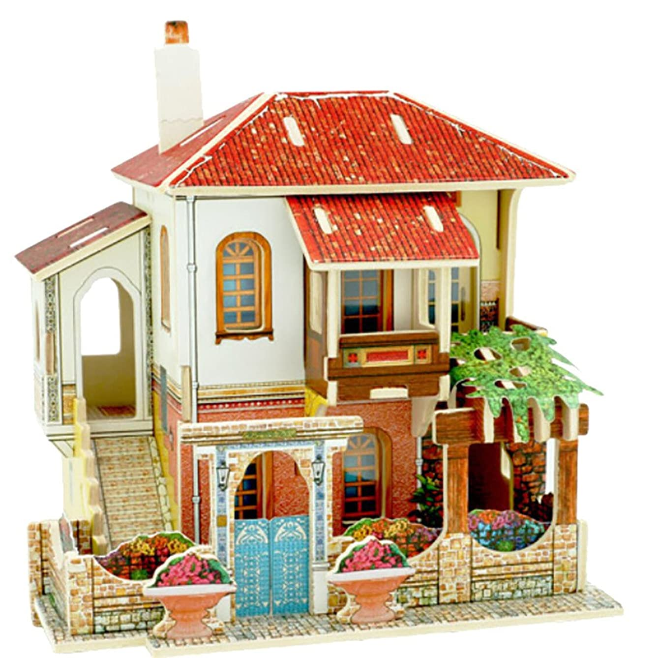 Gbell  Architectural House Building Model Kits 3D Puzzle,DIY Wooden Turkish Villa Models Handmade Playhouse Handcraft Miniature Doll Theater Creative Assembly Dollhouse Edudational Toys for Toddlers