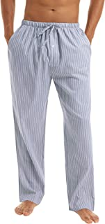 Irevial Men's Stripe Pyjama Bottoms Cotton Casual Trousers Nightwear Lounge Pants with Pockets Drawstring