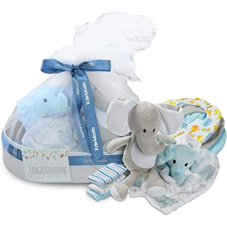 Baby Gift Set Neutral Hamper Full of Baby Products in Cream Keepsake Box