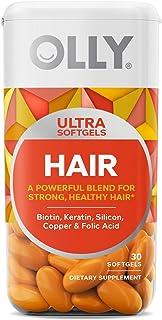 OLLY Hair Ultra Softgels, Supports Healthy Hair Growth, Stronger and Fuller Hair, Biotin, Keratin, Vitamin D, B12, Hair Su...